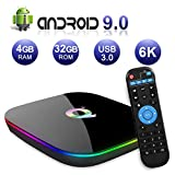 Android TV Box 9.0, Android Box 4 GB RAM 32 GB ROM H6 Quad Core Cortex-A53 Smart TV Box, compatible con 6K 2,4 GHz de resolución 3D WiFi Ethernet USB 3.0 Reproductor multimedia